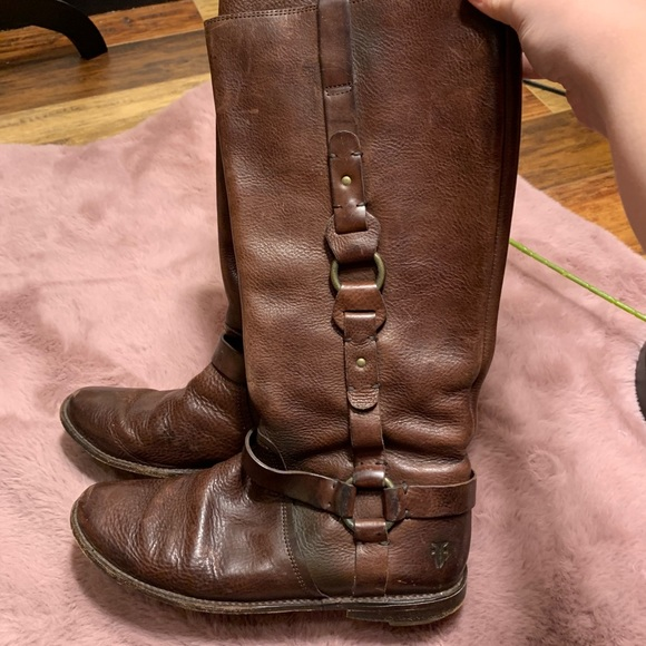 Frye Paige harness leather boots distressed